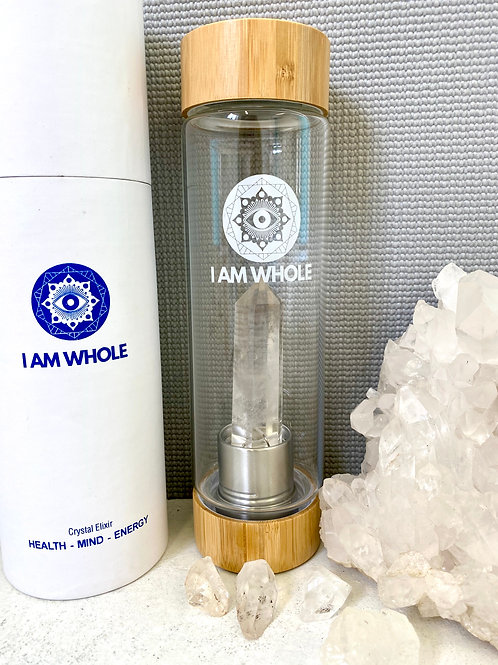 Clear Quartz Bamboo Water Bottle