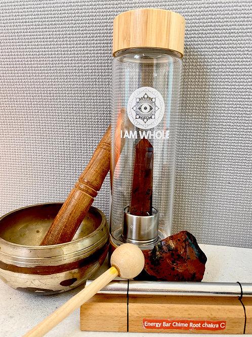 Mahogany Obsidian Bamboo Water Bottle