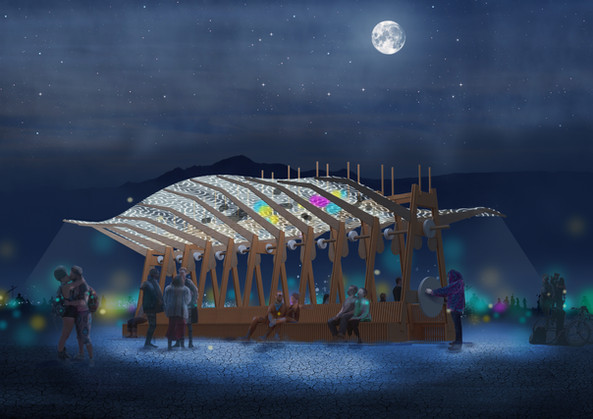 Archaeopteryx art installation at Burning Man concept rendering