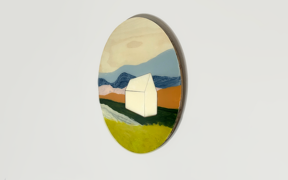 resin painting with wood inlay