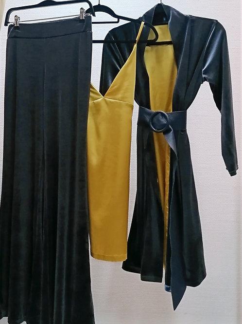 Kimono Veludo + Top Cetim + Calça