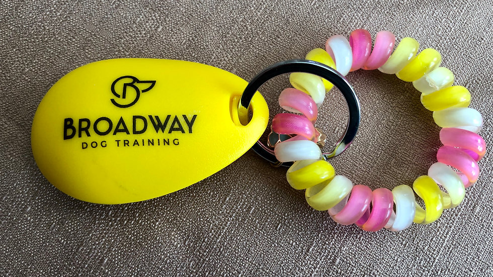 Broadway Dog Training Clicker w/Wrist Coil and Charm