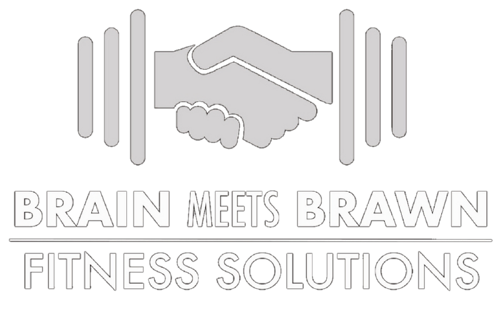 brain meets brawn personal training, nutrition coaching, fitness recovery, and post physical therapy logo
