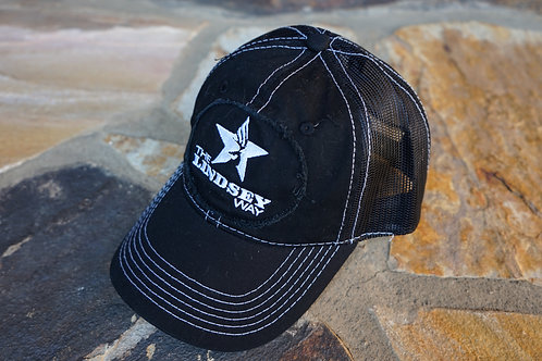Black Unstructured Snapback Logo Patch Hat
