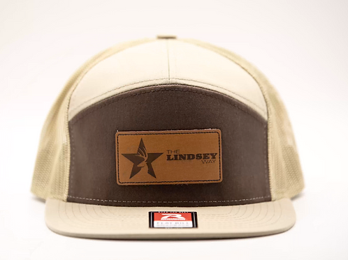 Khaki/Brown 7 Panel Trucker Leather Patch Hat