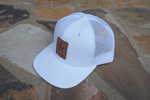 White Out Leather Logo Patch Snapback Hat