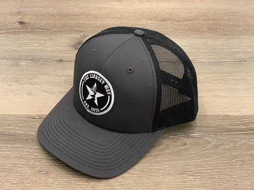 Charcoal/Black Round Patch Snapback
