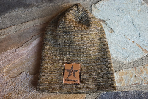 Marled Slouch Beanie with Leather Patch
