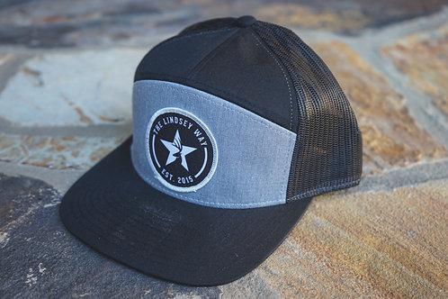 Gray/Black 7 Panel Trucker Patch Hat