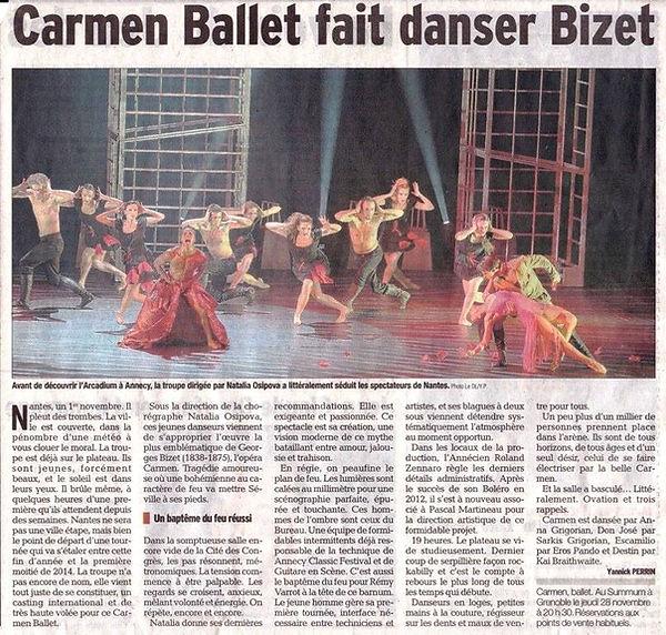 La tournée de Carmen en France, Le Progrès, 2017
