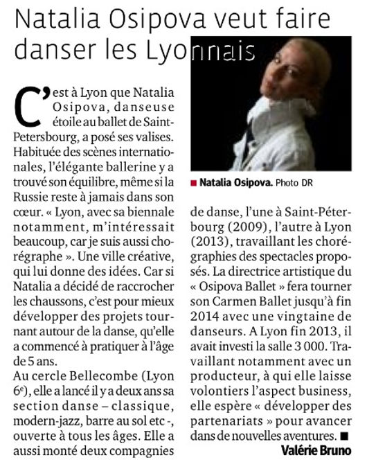 Professeur de Danse à Lyon, Le Progrès, 4 Février 2014