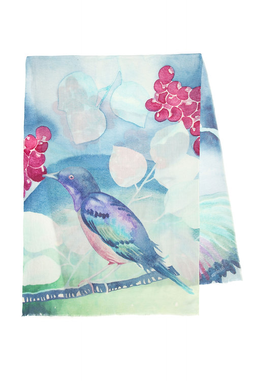 Eastern Bluebird | 70x200cm , cashmere wool