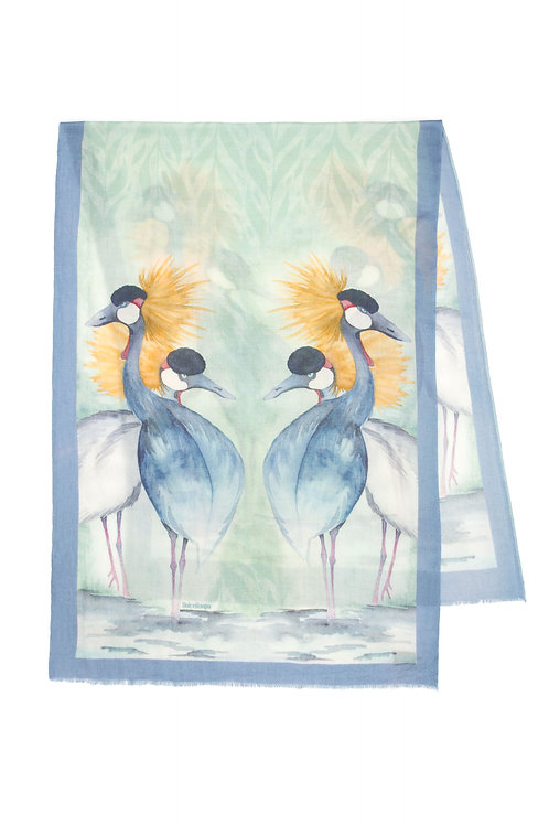 Gray Crowned Crane | 70x200cm , cashmere wool
