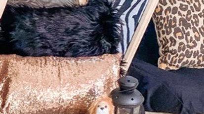 Black faux fur pillow cover