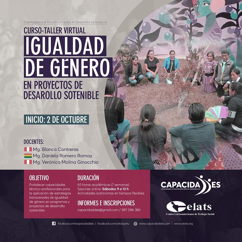 Curso-taller virtual: IGUALDAD DE GÉNERO en Proyectos de Desarrollo Sostenible