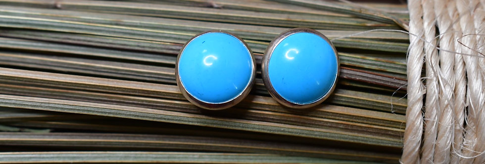 SIMPLE ROUND TURQUOISE STUDS