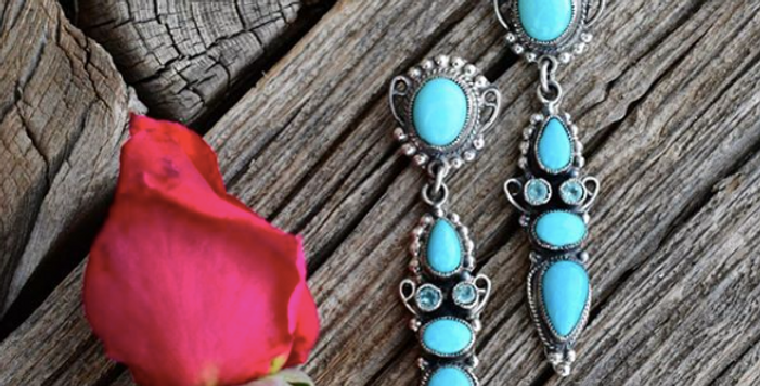 BLUE TOPAZ AND TURQUOISE CHANDELIER