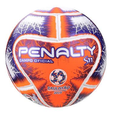 Bola de Futebol Campo Penalty S11 R1 Fpf LX - Branco e Laranja