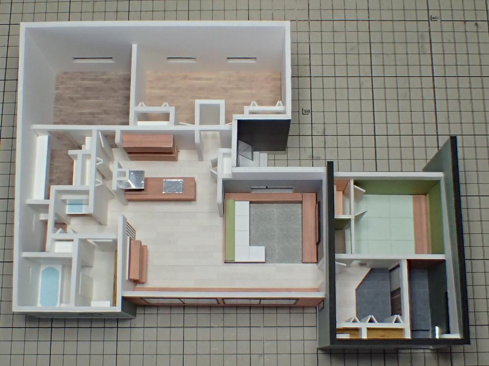 建築模型 カラー模型 森住建様 M邸 外形完成