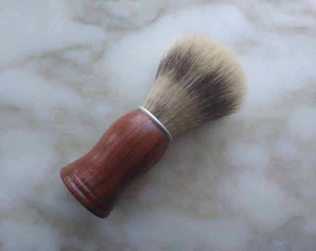 Dark Wood Oak Synthetic Shaving Badger Brush