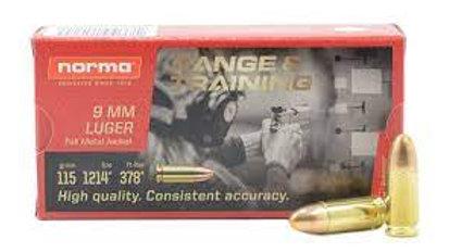 Norma Brass 9mm 115 Gr FMJ Range & Training - QTY 50