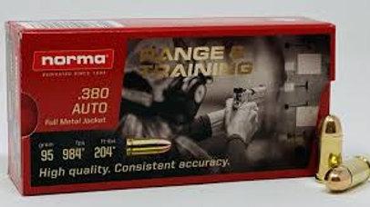 Norma Brass 380 Auto 95 Gr FMJ Range & Training – QTY 50