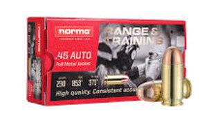 NORMA 45 AUTO 230G Range Ammo - QTY 50
