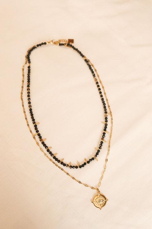 collier double ain noir