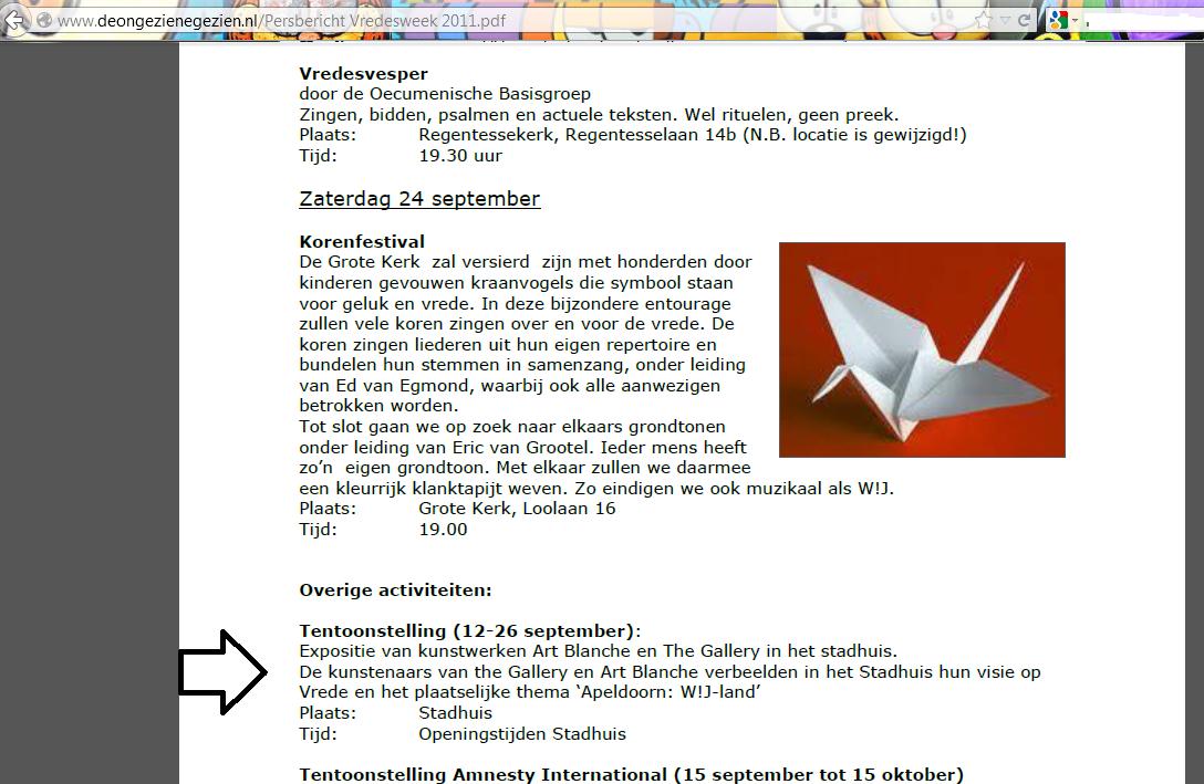 expositie vredesweek 2011 in stadhuis artikel op website deongezienegezien.nl.pn