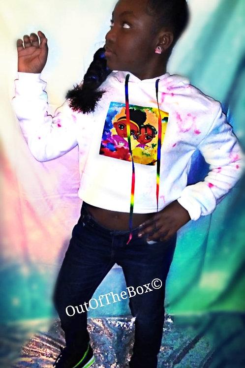 Sister Sister Rainbow Crop Hoodie