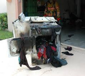 Picture of a dryer that caught on fire.