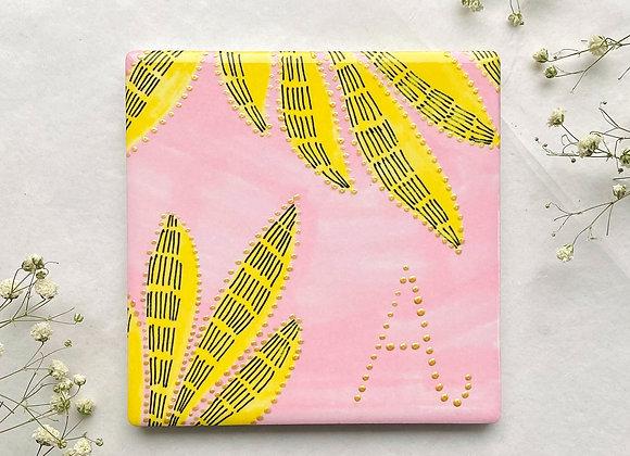 Alejo Mi CUSTOM Gold Iinitial Print Square Ceramic Coaster - Pink, Yellow, Gold
