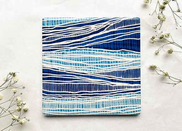 Alejo Mi Waves Along the Nile Square Ceramic Coaster - Blue