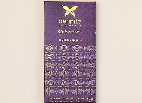 Definite Chocolate Bar - 90% Dark Chocolate (60g)