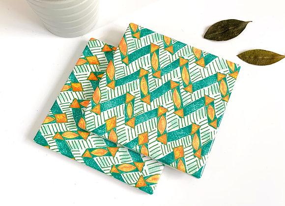 Alejo Mi Ankara Print Square Ceramic Coaster, Mint, Green