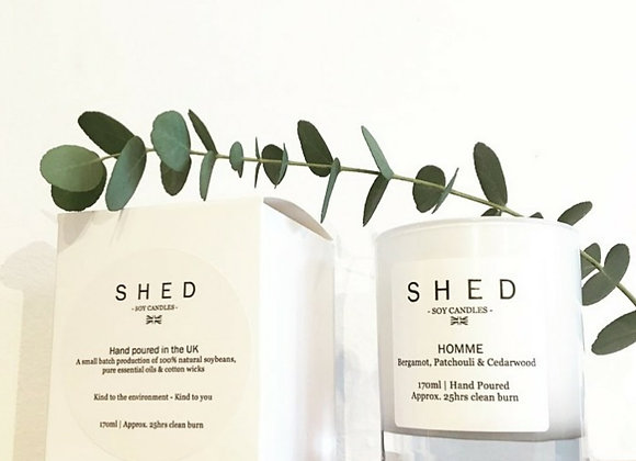 SHED 'Homme' Soy Candle in Clear Glass Jar - 170ml