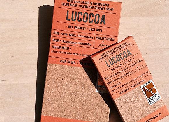 Lucocoa 50% Milk Chocolate Bar - 50g