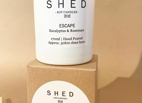 SHED 'Escape' Soy Candle in a Clear Jar - 170ml