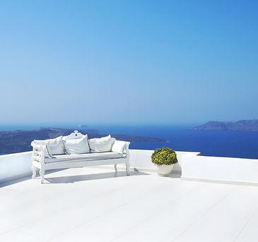 Griechenland weße Bank blau