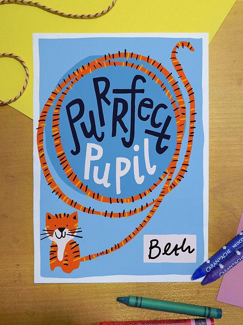 Purrfect Pupil. Children's homeschool certificate digital download