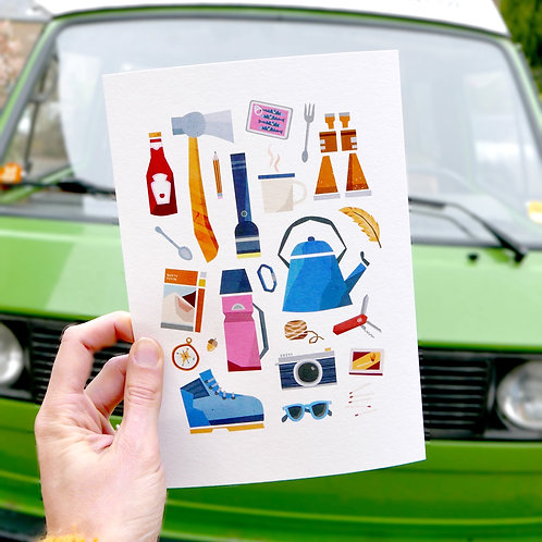 Camping essentials print