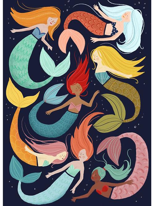 Mermaids print