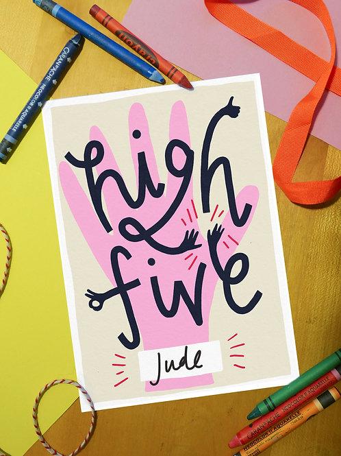 High Five. Children's homeschool certificate digital download