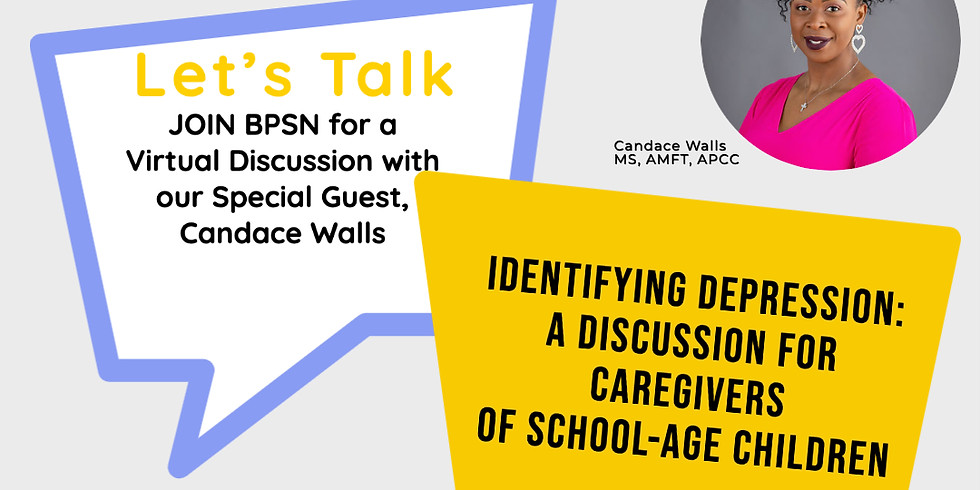 Identifying Depression : A Discussion for Caregivers:  w /special guest Candace Walls