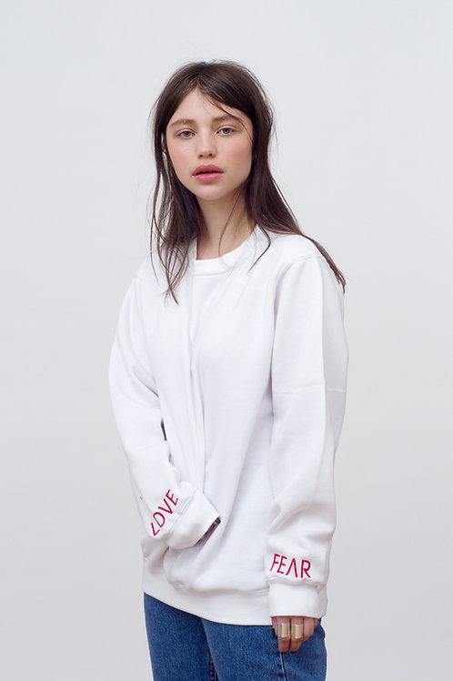 Love vs Fear White sweatshirt