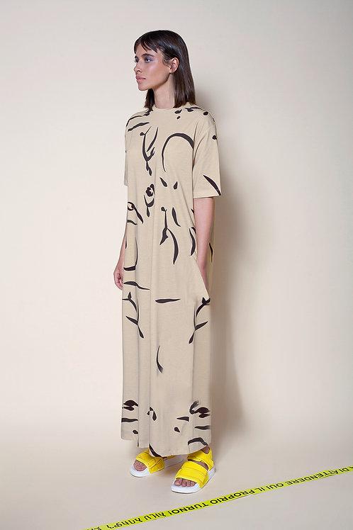 The Midi T Dress In Firmament print