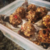 Oat, flax, and almond butter postpartum energy bites, lactation bites for the new mother prepared by the postpartum doula.