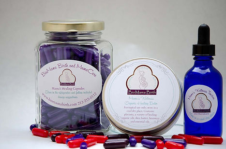A closeup image of placenta encapsulation packaging for capsules, salve, and tincture.