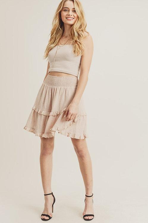 Smocked Waist Ruffle Skirt