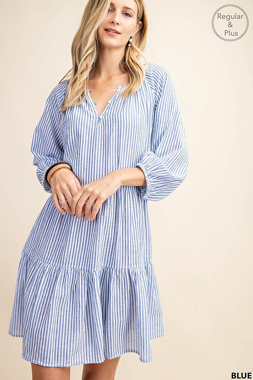 Stripe 3/4 Sleeve Dress